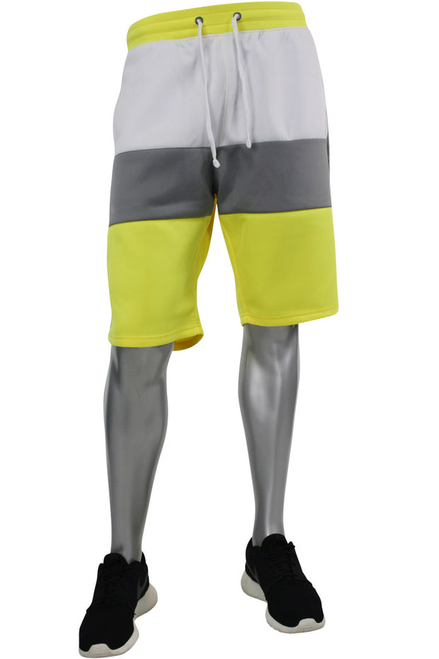 Color Block Track Shorts Neon Yellow - Grey - White (191-900) - Zamage