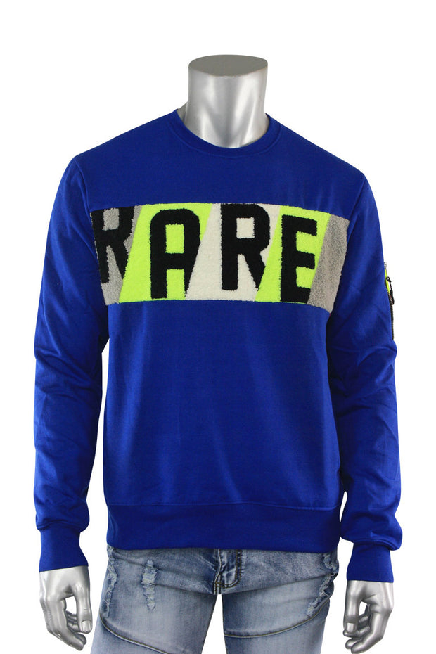 Embroidered Rare Chenille Patch Crewneck Sweater Royal Blue (19653 22S) - Zamage