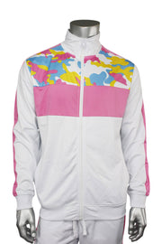 Striped Color Block Track Jacket Pink - White - Camo (82-312)