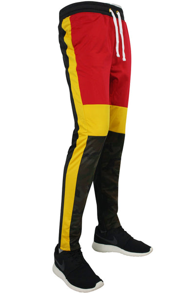Striped Color Block Track Pants Camo - Red - Yellow (82-412)