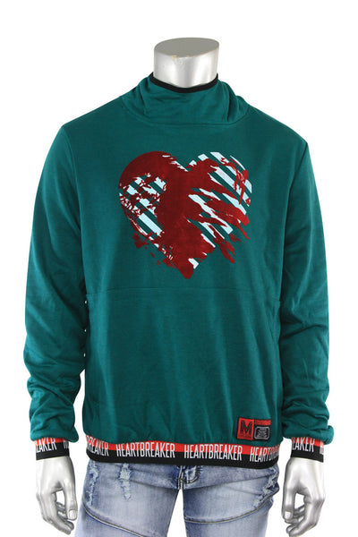 Heart Breaker French Terry Pullover Hoodie Hunter Green (18841 22S)