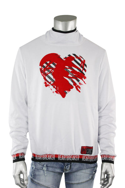 Heart Breaker French Terry Pullover Hoodie White (18841 22S)