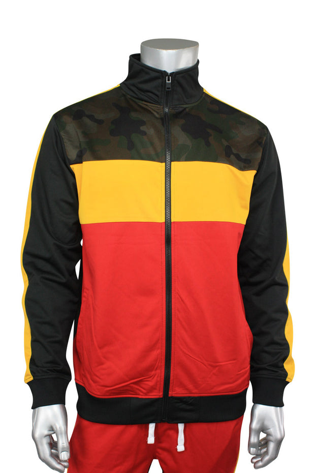 Striped Color Block Track Jacket Camo - Red - Yellow (82-312)