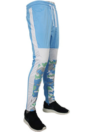 Striped Color Block Track Pants Sky Blue - Camo - White (82-412)