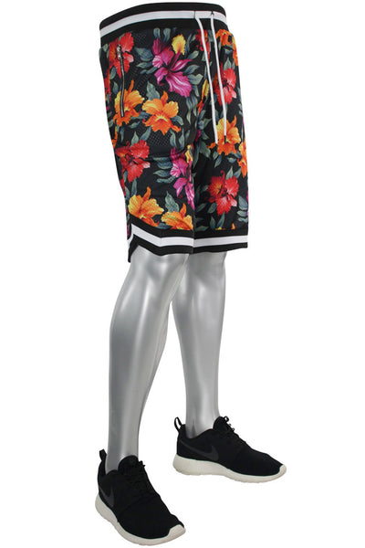 Floral Zip Mesh Shorts Black (191-924) - Zamage