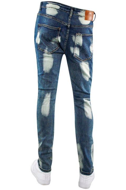 Pieced Motto Denim Blue Acid Splatter Wash (M4658D) - Zamage