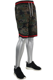 Camo Print Mesh Shorts Woodland - Red - Black (191-921) - Zamage