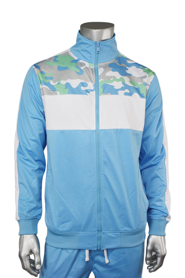 Striped Color Block Track Jacket Sky Blue - Camo - White (82-312)