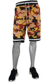 Camo Print Mesh Shorts Orange - Black - White (191-921) - Zamage