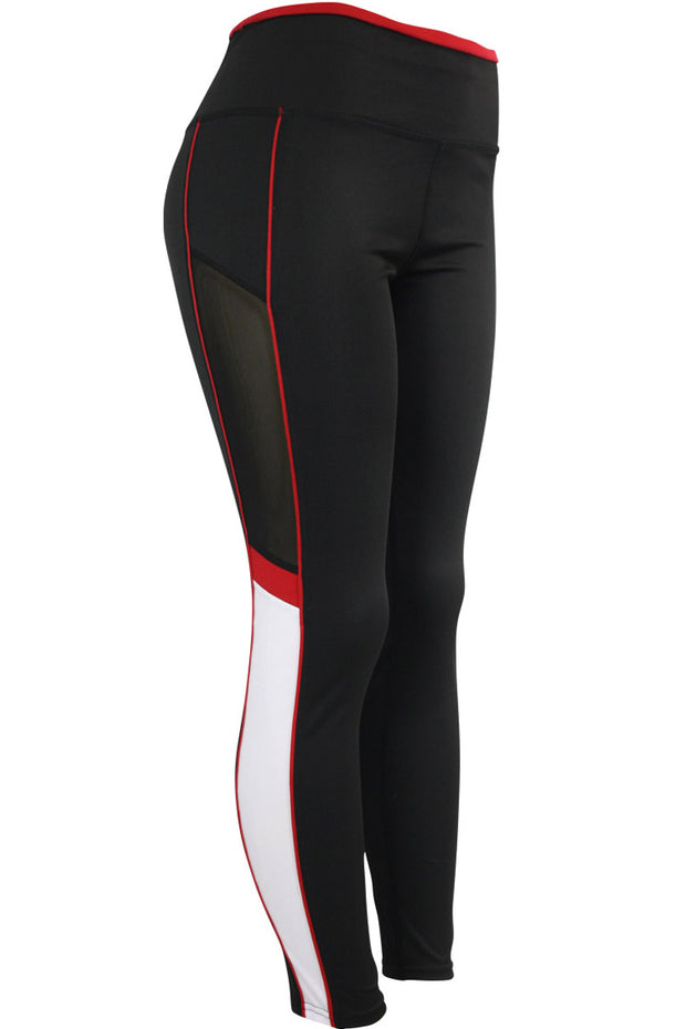 Women's Performance Color Block Leggings Black - White - Red (YP1047)