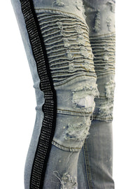 Moto Destroyed Rhinestone Skinny Fit Denim Antique Bleach (M4935D)