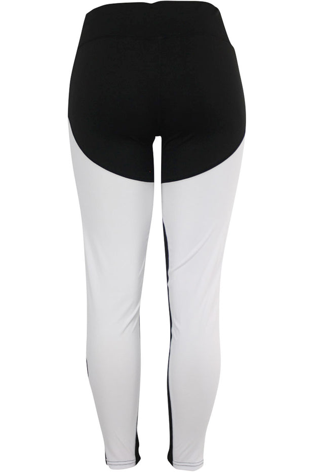 Women's Performance Color Block Leggings White - Black - Blue (YP1005)