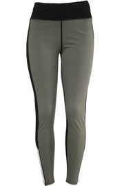 Women's Performance Color Block Leggings Khaki - Black - White (YP1033)