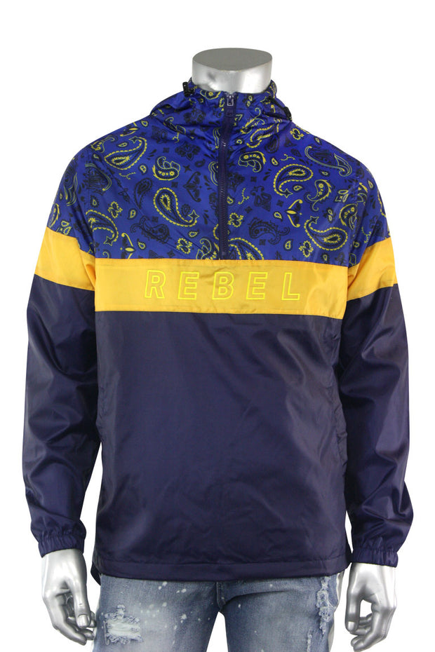 Color Block Paisley Windbreaker Navy (1A2-516)