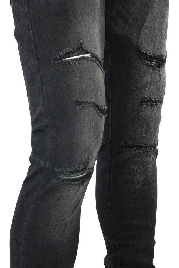 Jordan Craig Distressed Ankle Zip Skinny Fit Denim Black (JM3235)