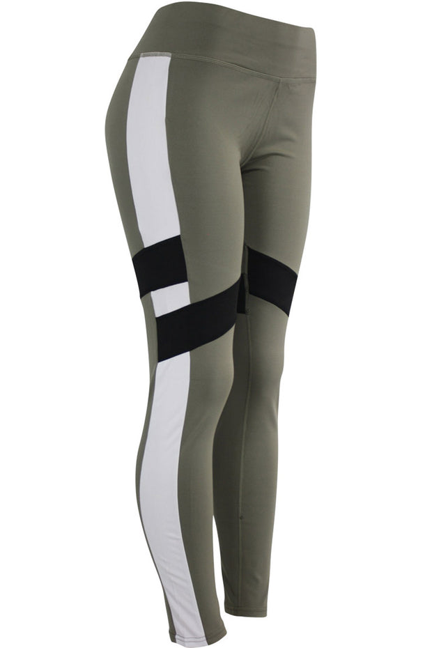Women's Performance Color Block Leggings Khaki - Black - White (YP1046)