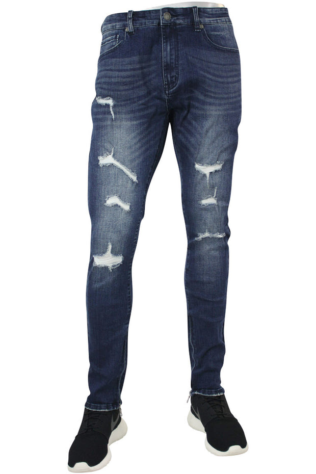 Jordan Craig Distressed Ankle Zip Skinny Fit Denim Dark Blue (JM3235)