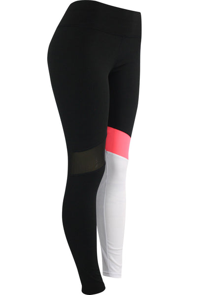 Women's Performance Color Block Leggings Black - Pink - White (YP731)