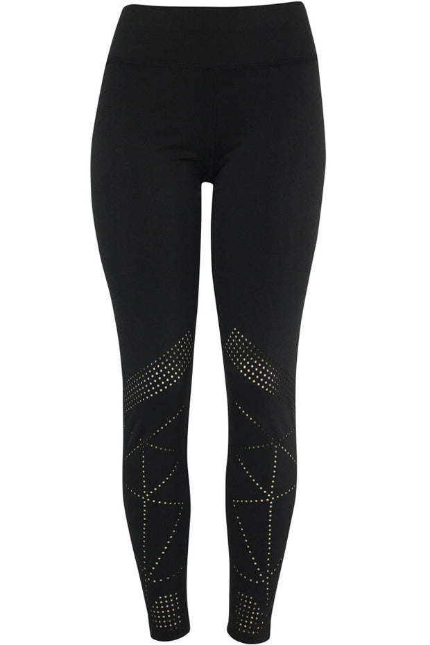 Women's Active Laser Cut Leggings Black (YP1007)