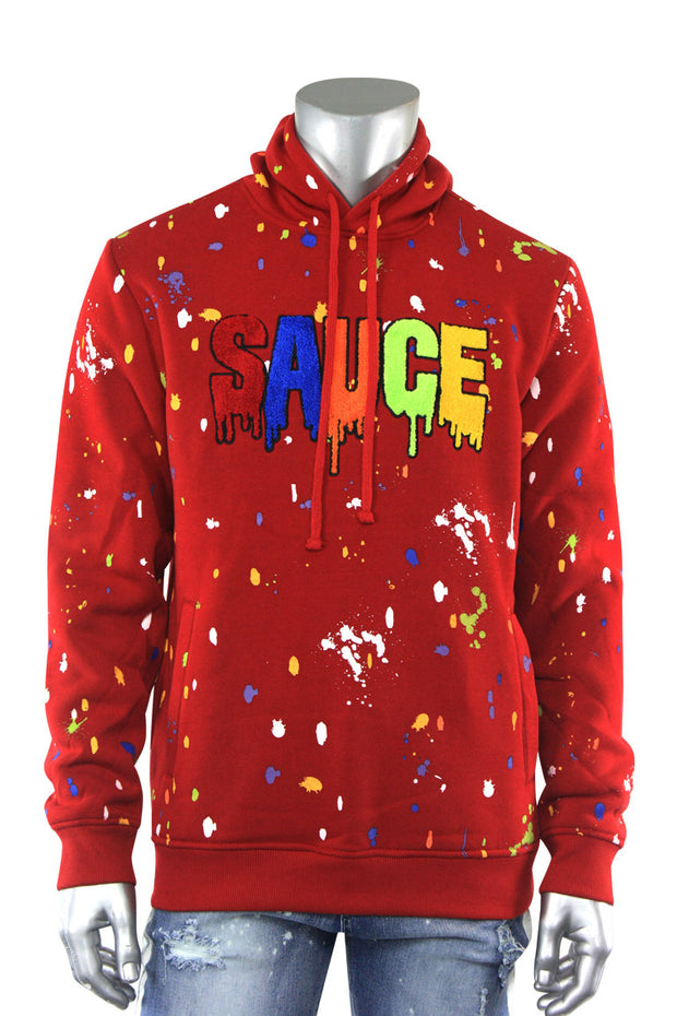 Sauce Chenille Patch Hoodie Red (1A2-316) - Zamage