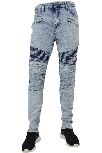 Moto Skinny Fit Denim Marble Wash (M4249DC) - Zamage
