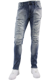 Jordan Craig Shredded Slim Fit Moto Denim Aged Wash (JM3329 22S)