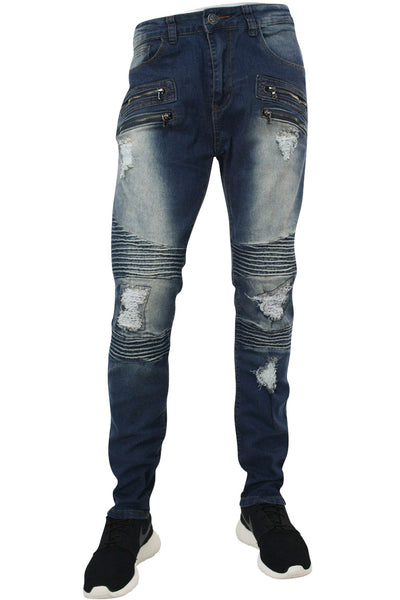Ripped & Zipped Slim Fit Moto Denim Indigo (M4388DA)