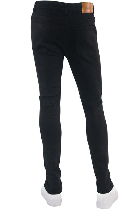 Moto Ripped Skinny Fit Denim Jet Black (M4976D) - Zamage