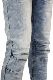 Constructed Knee Skinny Fit Denim Light Blue Wash (M4352DA) - Zamage