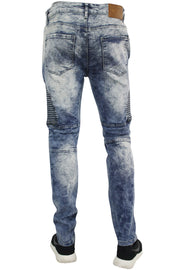 Zip Moto Skinny Fit Denim Blue Grey Wash (M4408D)