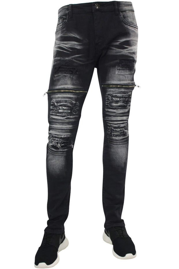 Destroyed Moto Zip Skinny Fit Denim Black (RUM4369PTA) - Zamage