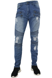 Ripped & Zipped Slim Fit Moto Denim Light Blue (M4388D)