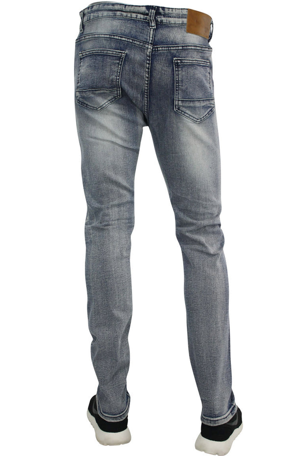 Circle Stitched Skinny Fit Denim Bleach Wash (M4572D) - Zamage