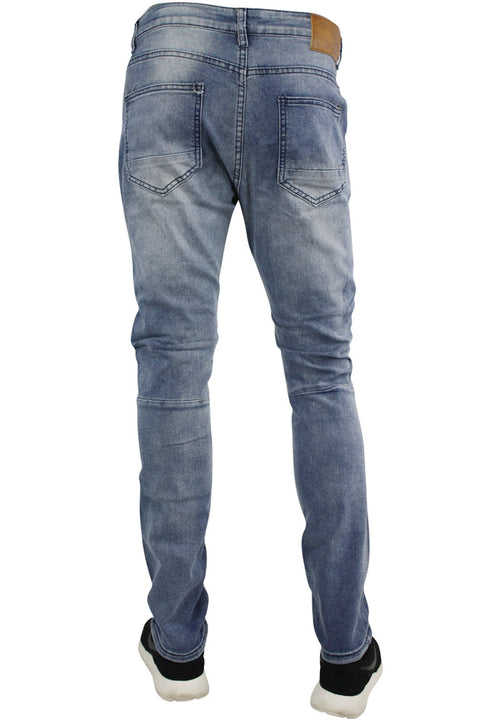 Ripped & Zipped Slim Fit Moto Denim Bleach Wash (M4388DA)