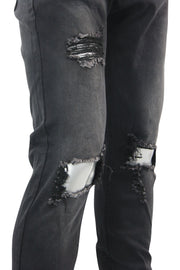 Destroyed Knee Skinny Fit Denim Black Wash (M4589D) - Zamage