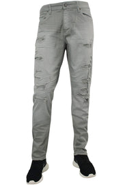 Jordan Craig Shredded Slim Fit Denim Light Grey (JM3230) - Zamage