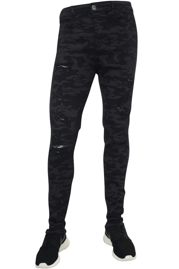 Destroyed Camo Skinny Fit Denim Black (M4303T) - Zamage