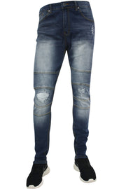 Ripped Knee Skinny Fit Denim Medium Blue Wash (M4448DA)