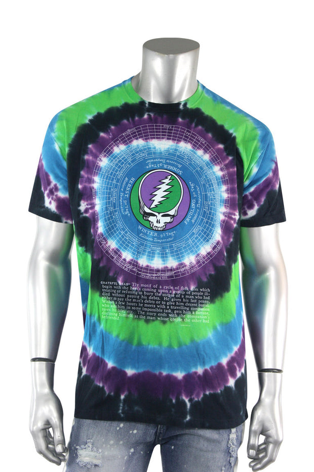 Grateful Dead Premium Tie Dye Tee Blue - Purple - Green (GDEADMAP) - Zamage