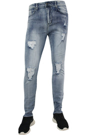 Faded Destroyed Skinny Fit Denim Light Antique Wash (M4563D) - Zamage
