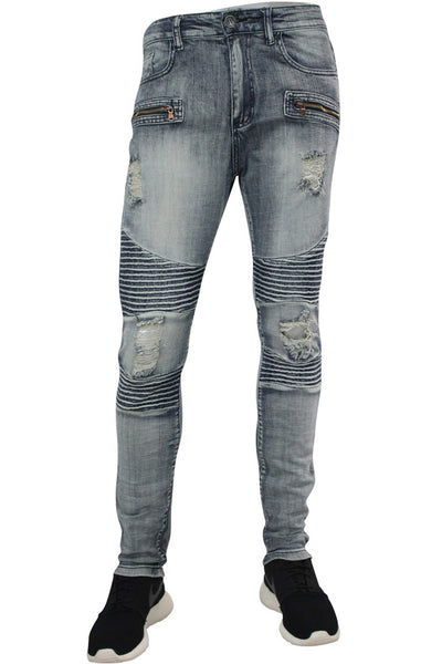 Ripped & Zipped Moto Skinny Fit Denim Bleach (M4388DB)