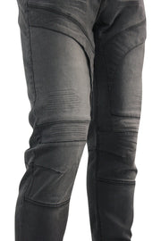 Biker Skinny Fit Denim Dark Grey (AOM4483D) - Zamage