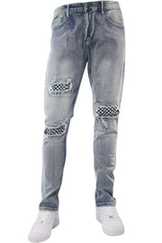 Checkered Blowout Skinny Fit Denim Blue Wash (M4702D) - Zamage
