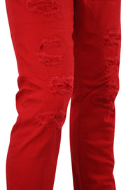 Jordan Craig Shredded Slim Fit Denim Red (JM3230) - Zamage