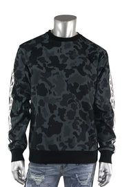 Camo Fleece Emoji Print Crewneck Black (BF0540)