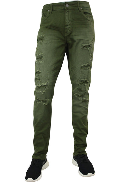 Jordan Craig Shredded Slim Fit Denim Army Green (JM3230)