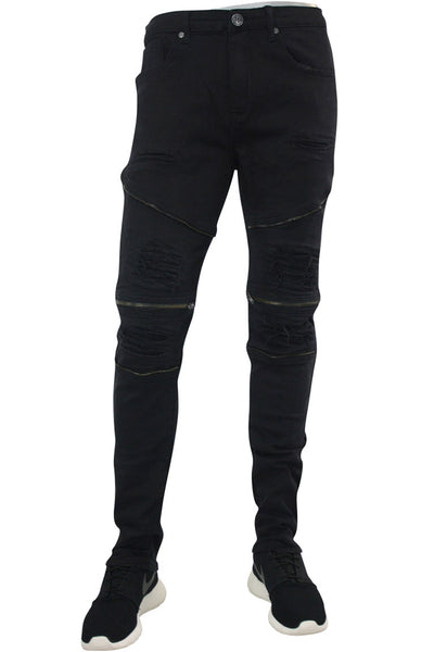 Deluxe Moto Twill Skinny Fit Denim Black (M4219TA) - Zamage