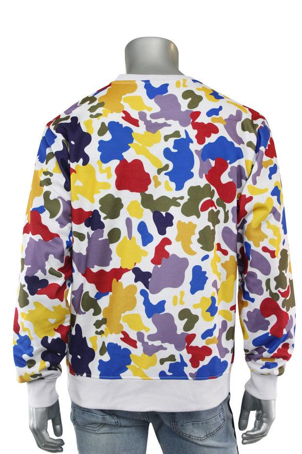 Camo Fleece Emoji Print Crewneck Multi Color (BF0540)