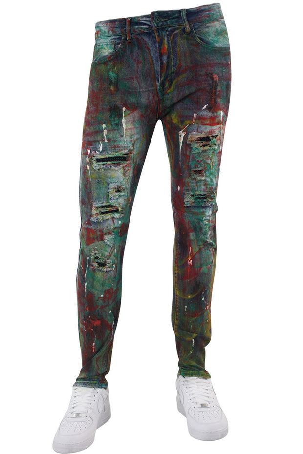 Allover Paint Skinny Fit Denim Blue Multi Color (M5035D)
