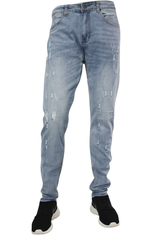 Faded Scratched Skinny Fit Denim Blue Grey (M4539D) - Zamage